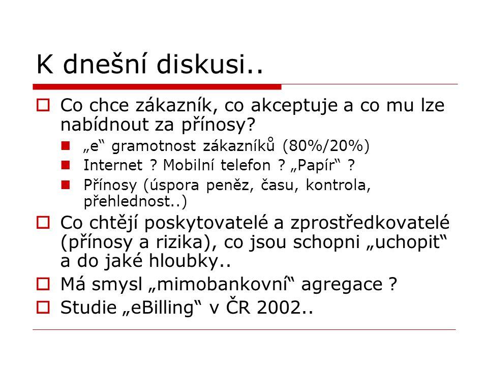 """K dnešní diskusi..  Co chce zákazník, co akceptuje a co mu lze nabídnout za přínosy? """"e"""" gramotnost zákazníků (80%/20%) Internet ? Mobilní telefon ?"""