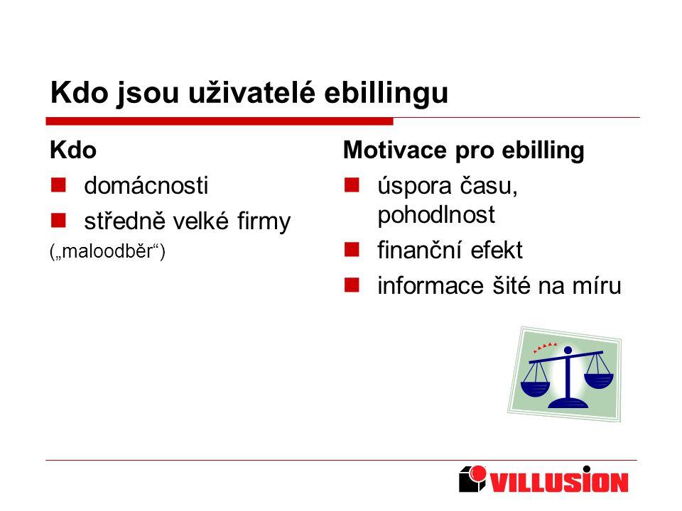 """Kdo jsou uživatelé ebillingu Kdo domácnosti středně velké firmy (""""maloodběr ) Motivace pro ebilling úspora času, pohodlnost finanční efekt informace šité na míru"""