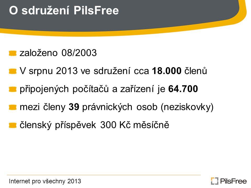 O sdružení PilsFree založeno 08/2003 V srpnu 2013 ve sdružení cca 18.000 členů připojených počítačů a zařízení je 64.700 mezi členy 39 právnických osob (neziskovky) členský příspěvek 300 Kč měsíčně Internet pro všechny 2013