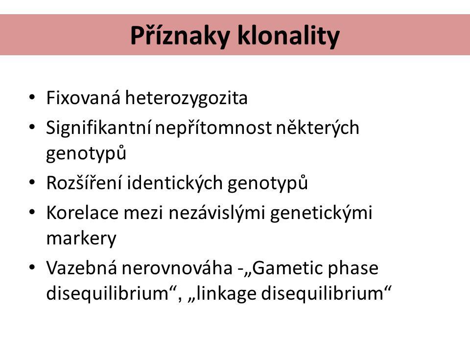 """Příznaky klonality Fixovaná heterozygozita Signifikantní nepřítomnost některých genotypů Rozšíření identických genotypů Korelace mezi nezávislými genetickými markery Vazebná nerovnováha -""""Gametic phase disequilibrium , """"linkage disequilibrium"""