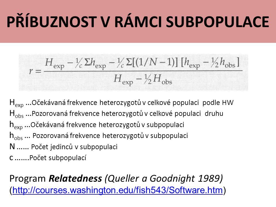 PŘÍBUZNOST V RÁMCI SUBPOPULACE H exp … Očekávaná frekvence heterozygotů v celkové populaci podle HW H obs … Pozorovaná frekvence heterozygotů v celkové populaci druhu h exp … Očekávaná frekvence heterozygotů v subpopulaci h obs … Pozorovaná frekvence heterozygotů v subpopulaci N …… Počet jedinců v subpopulaci c …….