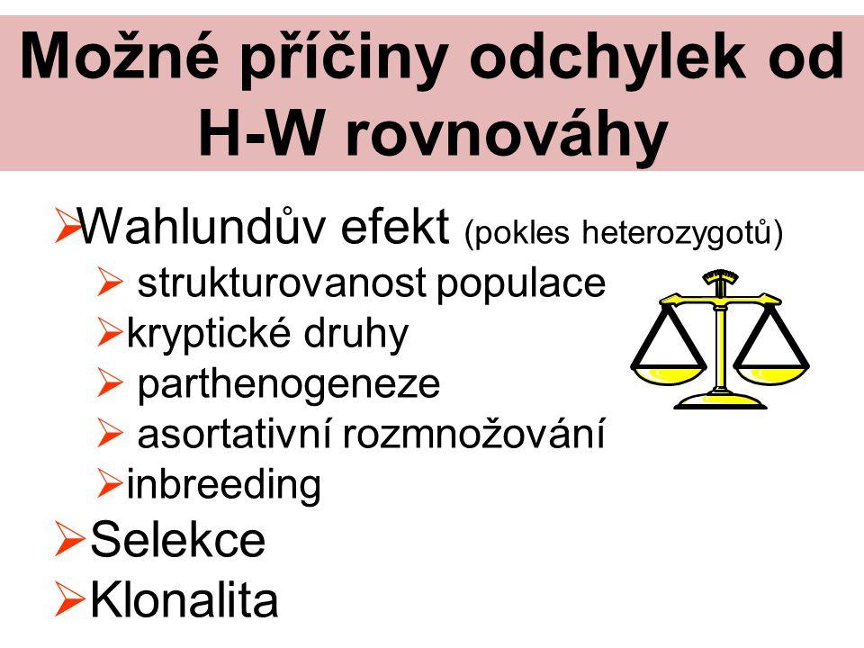 Možné příčiny odchylek od H-W rovnováhy  Wahlundův efekt (pokles heterozygotů)  strukturovanost populace  kryptické druhy  parthenogeneze  asortativní rozmnožování  inbreeding  Selekce  Klonalita