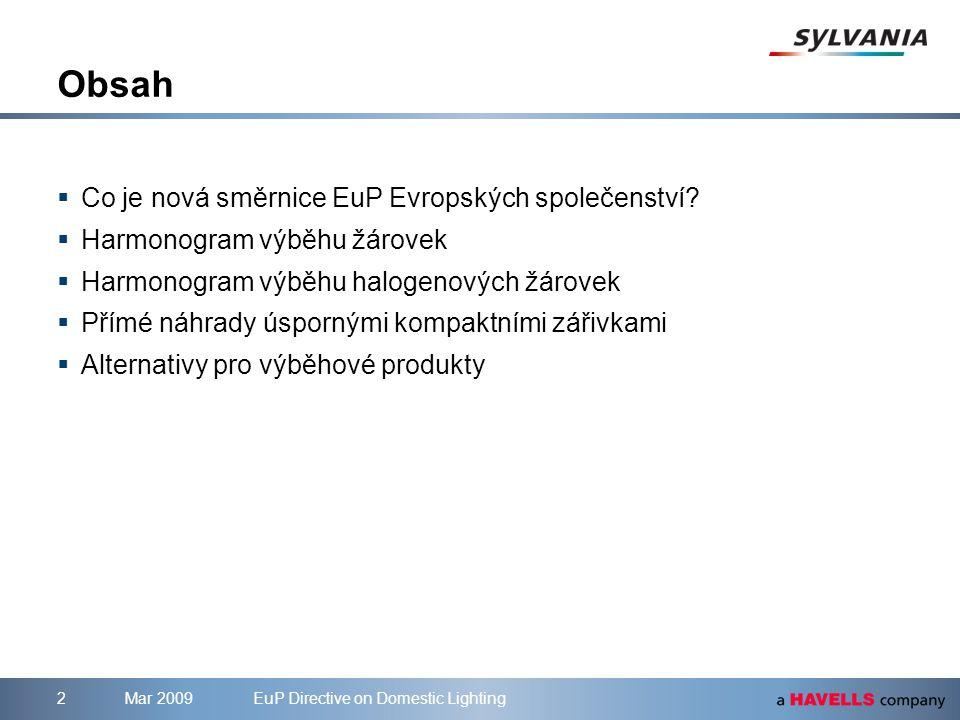 Mar 2009EuP Directive on Domestic Lighting3 Co je nová směrnice EuP.