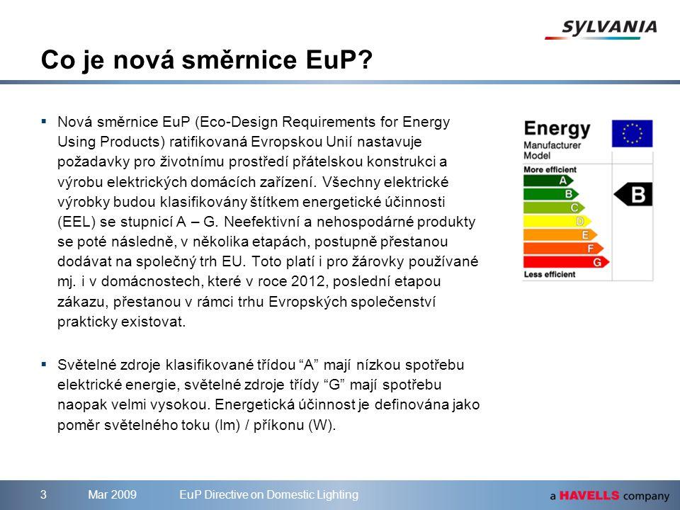 Mar 2009EuP Directive on Domestic Lighting3 Co je nová směrnice EuP?  Nová směrnice EuP (Eco-Design Requirements for Energy Using Products) ratifikov