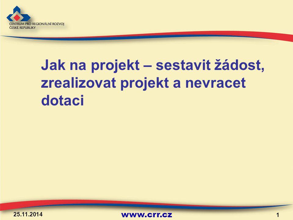www.crr.cz 25.11.2014 1 Jak na projekt – sestavit žádost, zrealizovat projekt a nevracet dotaci