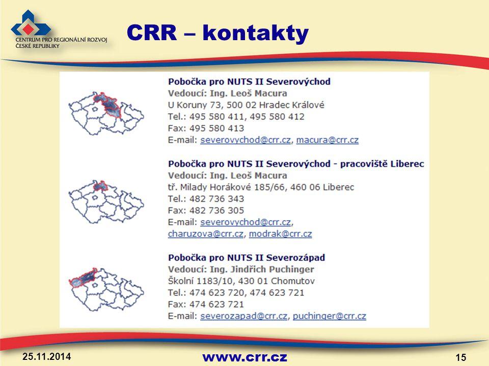 www.crr.cz 25.11.2014 15 CRR – kontakty