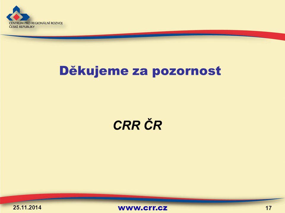 www.crr.cz 25.11.2014 17 Děkujeme za pozornost CRR ČR