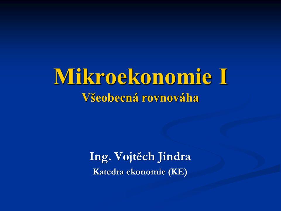 Mikroekonomie I Všeobecná rovnováha Ing. Vojtěch JindraIng. Vojtěch Jindra Katedra ekonomie (KE)Katedra ekonomie (KE)