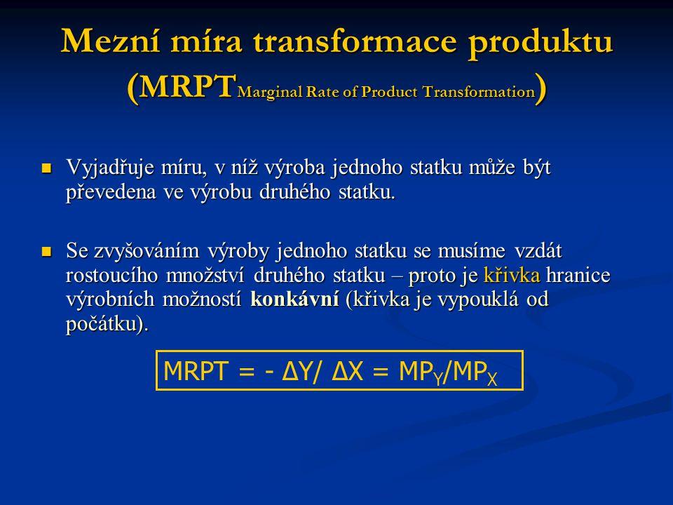 Mezní míra transformace produktu ( MRPT Marginal Rate of Product Transformation ) Vyjadřuje míru, v níž výroba jednoho statku může být převedena ve vý