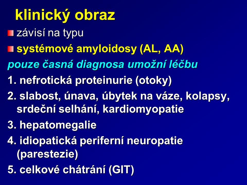 klinický obraz závisí na typu systémové amyloidosy (AL, AA) pouze časná diagnosa umožní léčbu 1. nefrotická proteinurie (otoky) 2. slabost, únava, úby