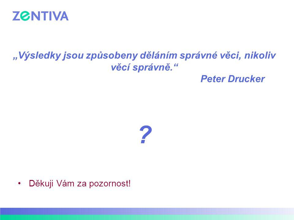 """""""Výsledky jsou způsobeny děláním správné věci, nikoliv věcí správně."""" Peter Drucker ? Děkuji Vám za pozornost!"""