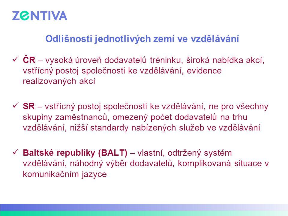 Odlišnosti jednotlivých zemí ve vzdělávání ČR – vysoká úroveň dodavatelů tréninku, široká nabídka akcí, vstřícný postoj společnosti ke vzdělávání, evi