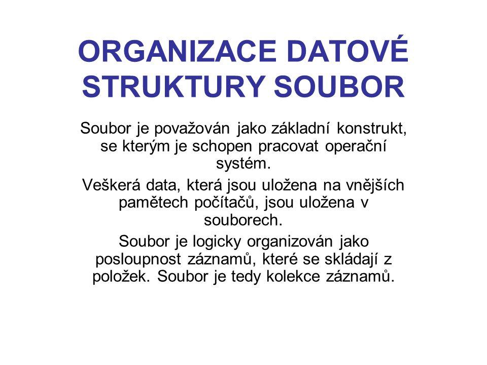 ORGANIZACE DATOVÉ STRUKTURY SOUBOR Soubor je považován jako základní konstrukt, se kterým je schopen pracovat operační systém. Veškerá data, která jso