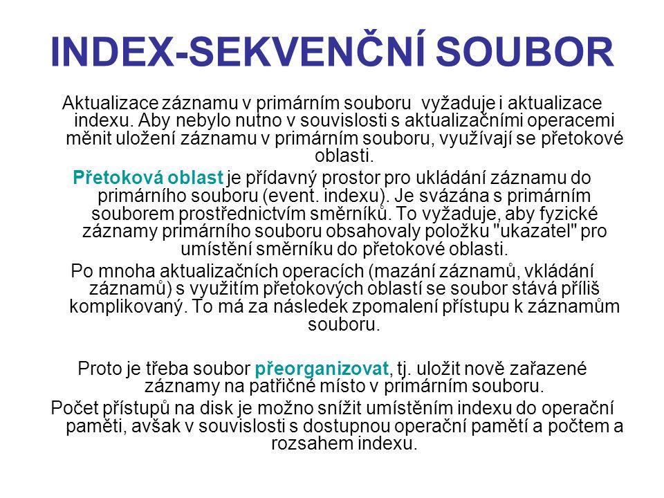 INDEX-SEKVENČNÍ SOUBOR Aktualizace záznamu v primárním souboru vyžaduje i aktualizace indexu. Aby nebylo nutno v souvislosti s aktualizačními operacem
