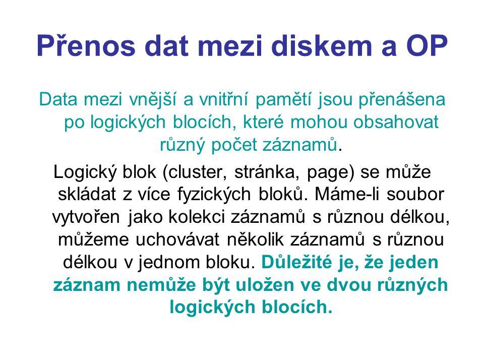 Přenos dat mezi diskem a OP Data mezi vnější a vnitřní pamětí jsou přenášena po logických blocích, které mohou obsahovat různý počet záznamů. Logický