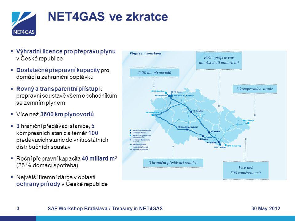 NET4GAS ve zkratce 30 May 2012SAF Workshop Bratislava / Treasury in NET4GAS3  Výhradní licence pro přepravu plynu v České republice  Dostatečné přep