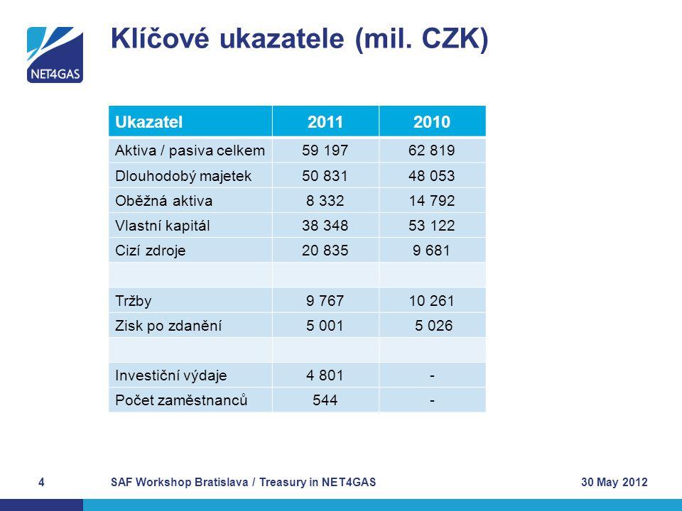 SAF Workshop Bratislava / Treasury in NET4GAS4 Klíčové ukazatele (mil. CZK) 30 May 2012 Ukazatel20112010 Aktiva / pasiva celkem59 19762 819 Dlouhodobý