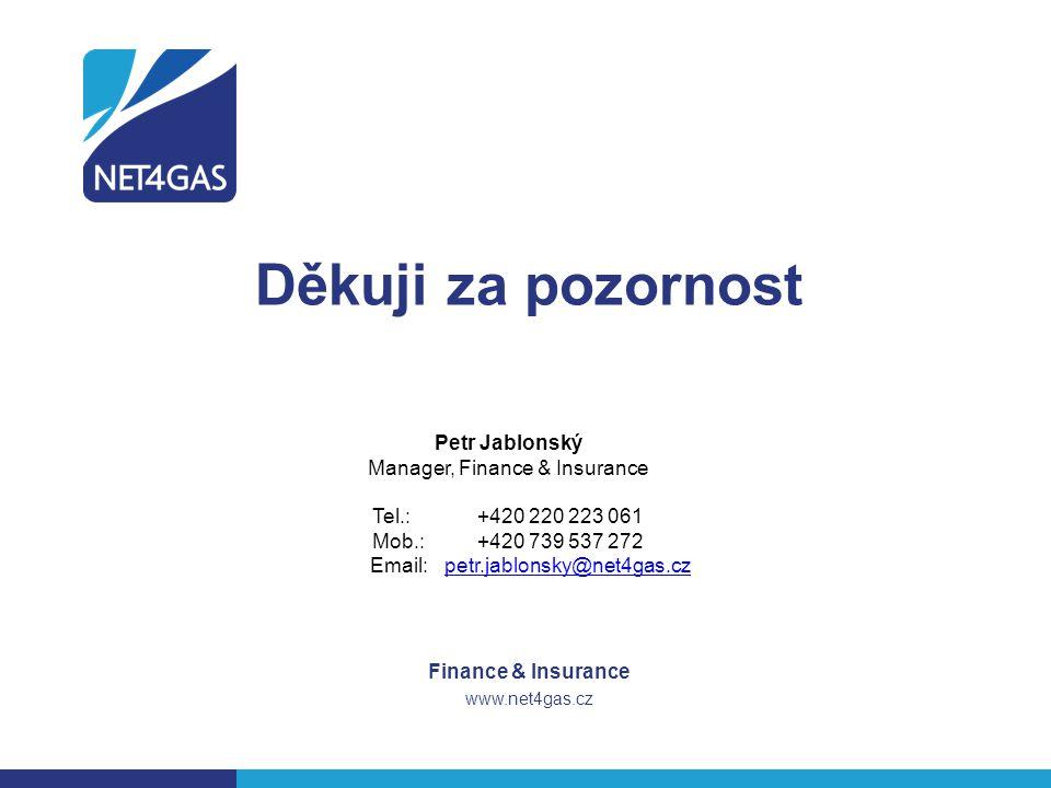 Děkuji za pozornost Finance & Insurance www.net4gas.cz Petr Jablonský Manager, Finance & Insurance Tel.:+420 220 223 061 Mob.:+420 739 537 272 Email: