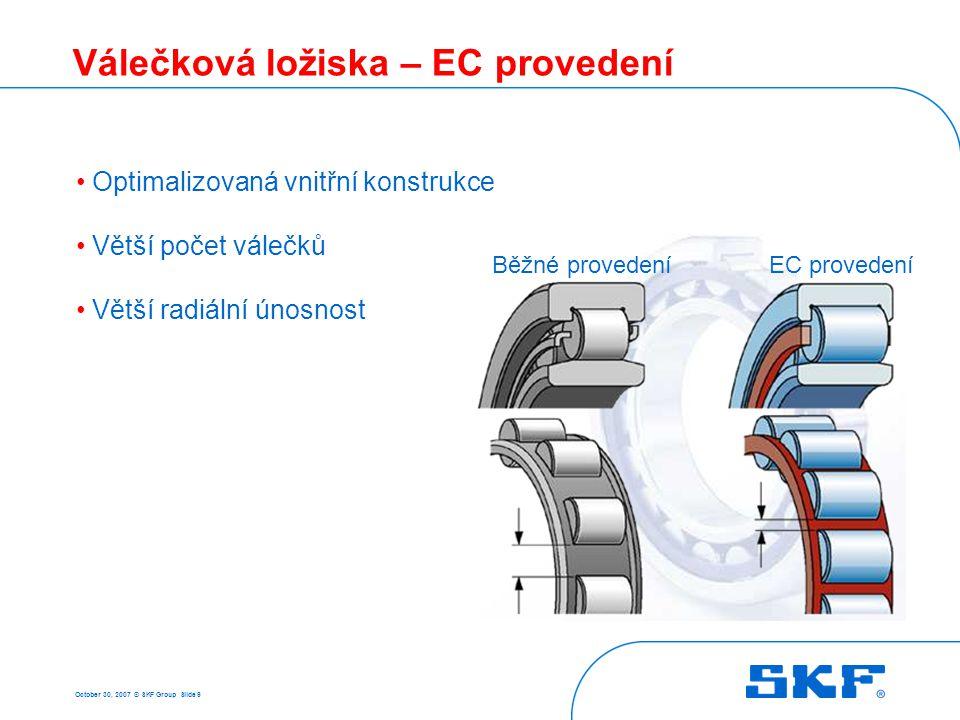 October 30, 2007 © SKF Group Slide 9 Válečková ložiska – EC provedení Optimalizovaná vnitřní konstrukce Větší počet válečků Větší radiální únosnost Bě