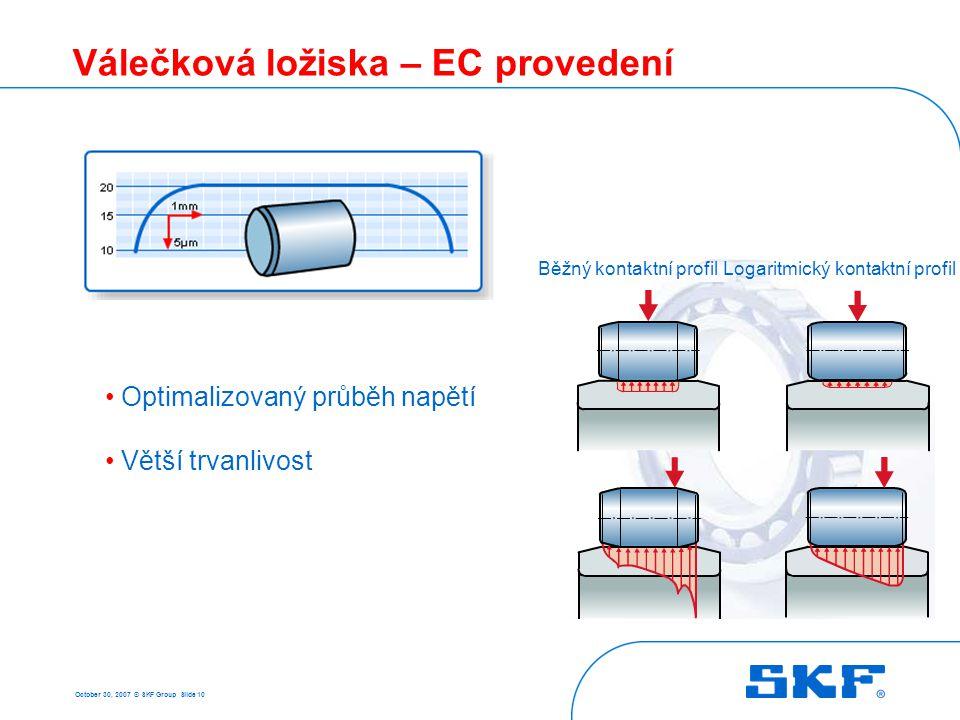 October 30, 2007 © SKF Group Slide 10 Válečková ložiska – EC provedení Běžný kontaktní profilLogaritmický kontaktní profil Optimalizovaný průběh napět