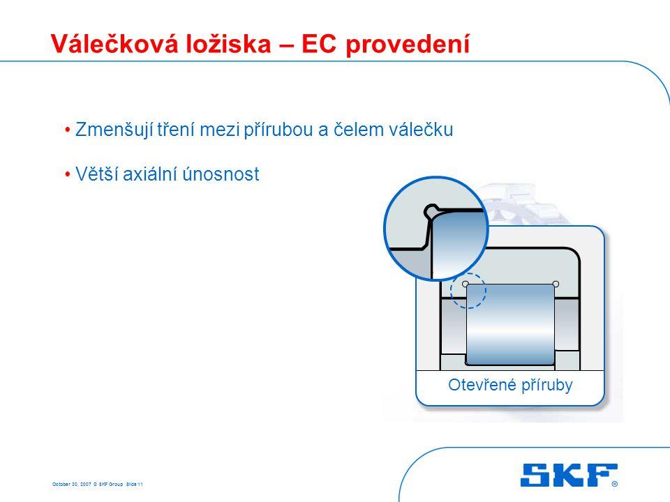 October 30, 2007 © SKF Group Slide 11 Válečková ložiska – EC provedení Zmenšují tření mezi přírubou a čelem válečku Větší axiální únosnost Otevřené př