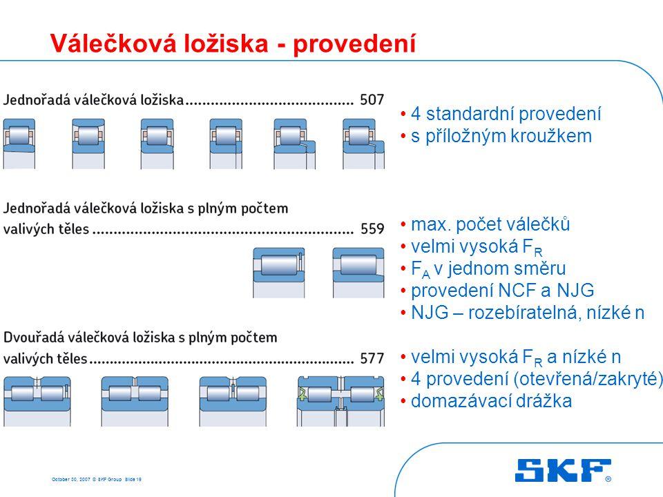 October 30, 2007 © SKF Group Slide 19 Válečková ložiska - provedení 4 standardní provedení s příložným kroužkem max. počet válečků velmi vysoká F R F