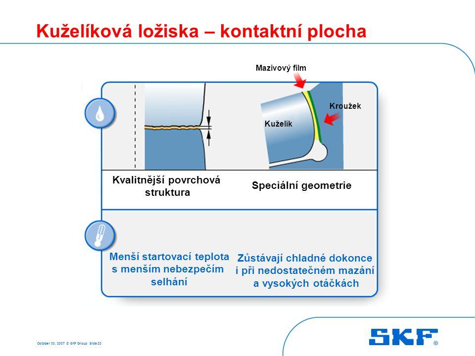 October 30, 2007 © SKF Group Slide 23 Kuželíková ložiska – kontaktní plocha Menší startovací teplota s menším nebezpečím selhání Zůstávají chladné dok