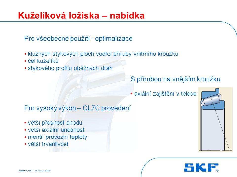 October 30, 2007 © SKF Group Slide 24 Kuželíková ložiska – nabídka Pro všeobecné použití - optimalizace kluzných stykových ploch vodící příruby vnitřn