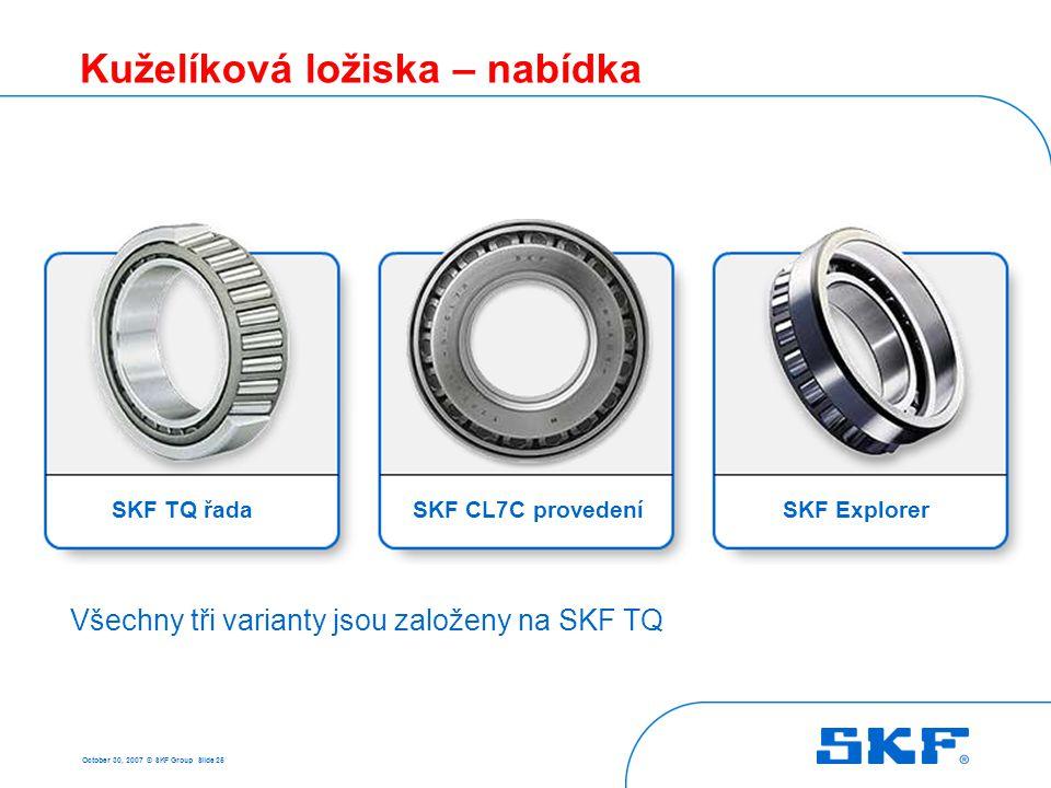 October 30, 2007 © SKF Group Slide 25 Kuželíková ložiska – nabídka SKF TQ řadaSKF CL7C provedeníSKF Explorer Všechny tři varianty jsou založeny na SKF