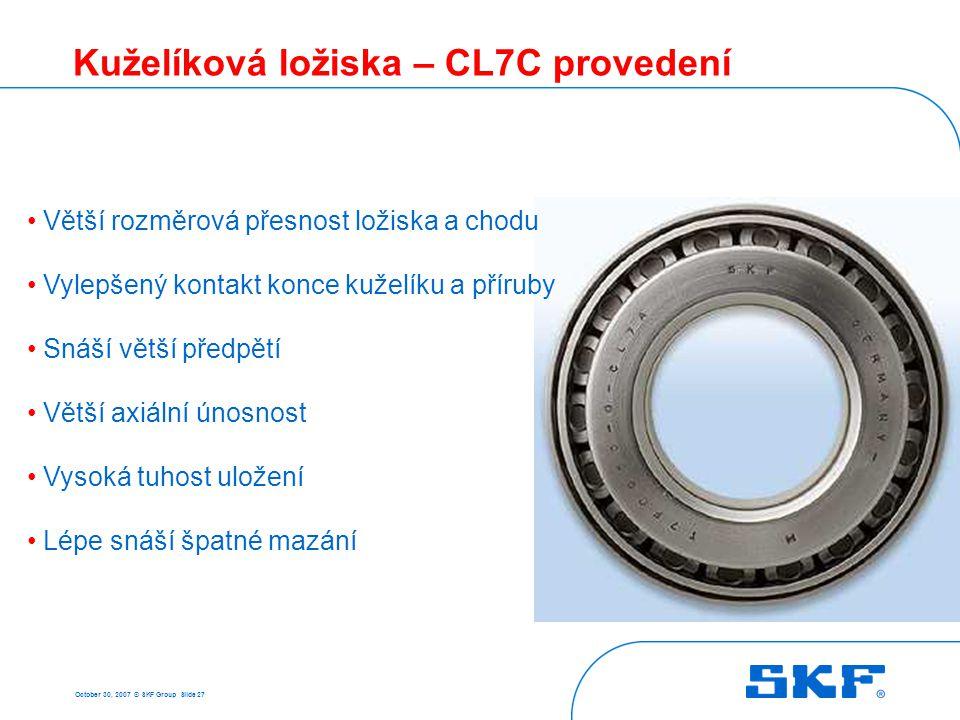 October 30, 2007 © SKF Group Slide 27 Kuželíková ložiska – CL7C provedení Větší rozměrová přesnost ložiska a chodu Vylepšený kontakt konce kuželíku a