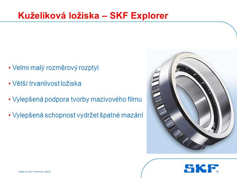 October 30, 2007 © SKF Group Slide 28 Kuželíková ložiska – SKF Explorer Velmi malý rozměrový rozptyl Větší trvanlivost ložiska Vylepšená podpora tvorb