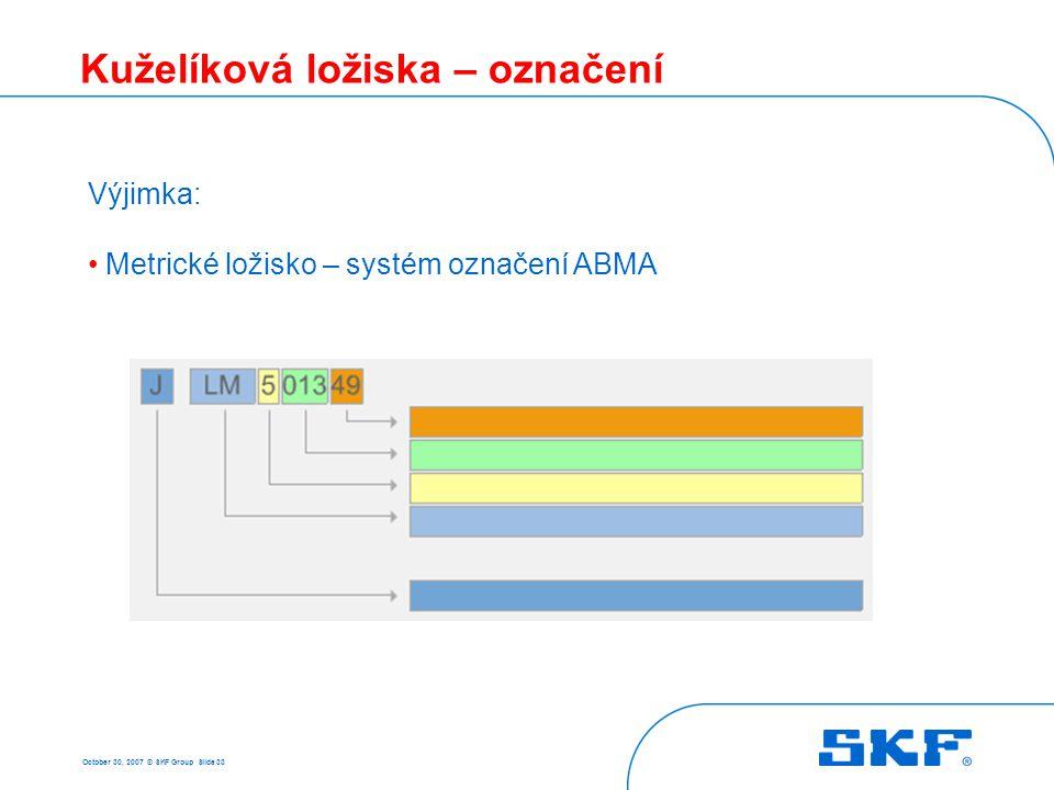 October 30, 2007 © SKF Group Slide 33 Kuželíková ložiska – označení Základní řada Výkonnostní řada Komponenta ložiska Kontaktní úhel Výjimka: Metrické