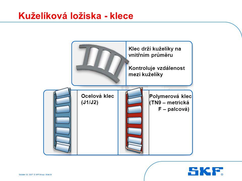 October 30, 2007 © SKF Group Slide 34 Kuželíková ložiska - klece Ocelová klec (J1/J2) Polymerová klec (TN9 – metrická F – palcová) Klec drží kuželíky