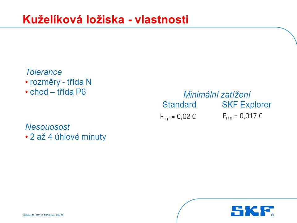 October 30, 2007 © SKF Group Slide 35 Kuželíková ložiska - vlastnosti Tolerance rozměry - třída N chod – třída P6 Nesouosost 2 až 4 úhlové minuty Mini