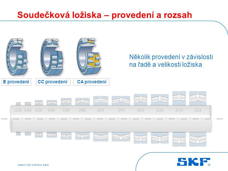 October 30, 2007 © SKF Group Slide 40 Soudečková ložiska – provedení a rozsah E provedeníCC provedeníCA provedení Několik provedení v závislosti na řa