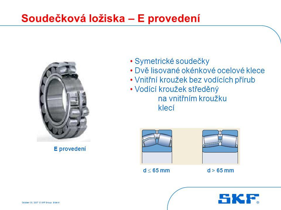 October 30, 2007 © SKF Group Slide 41 E provedení Soudečková ložiska – E provedení Symetrické soudečky Dvě lisované okénkové ocelové klece Vnitřní kro