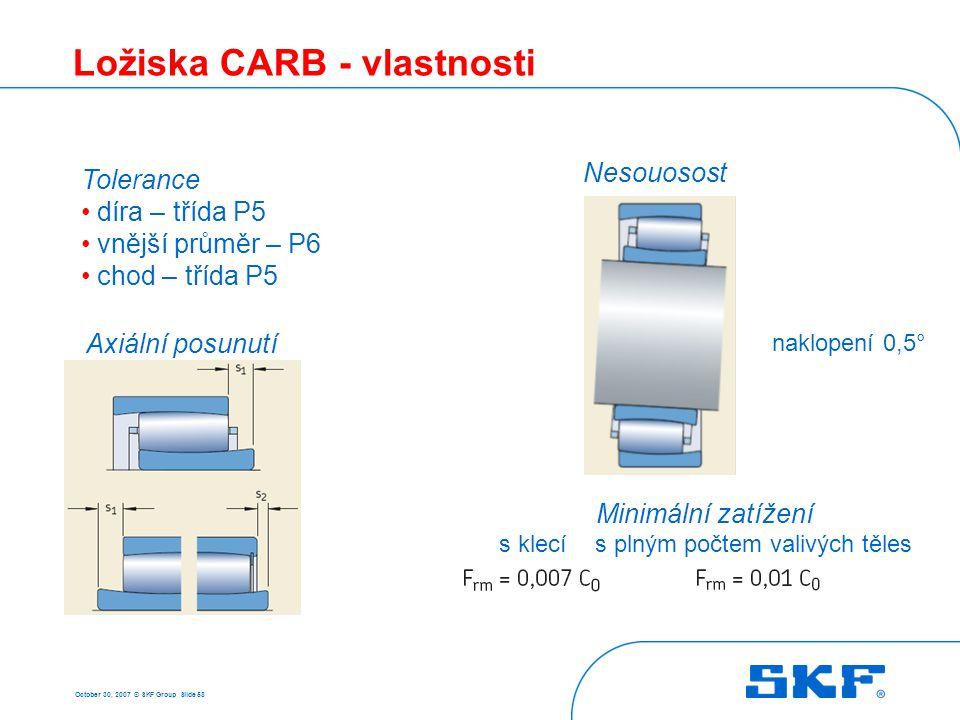 October 30, 2007 © SKF Group Slide 58 Ložiska CARB - vlastnosti Tolerance díra – třída P5 vnější průměr – P6 chod – třída P5 Minimální zatížení s klec
