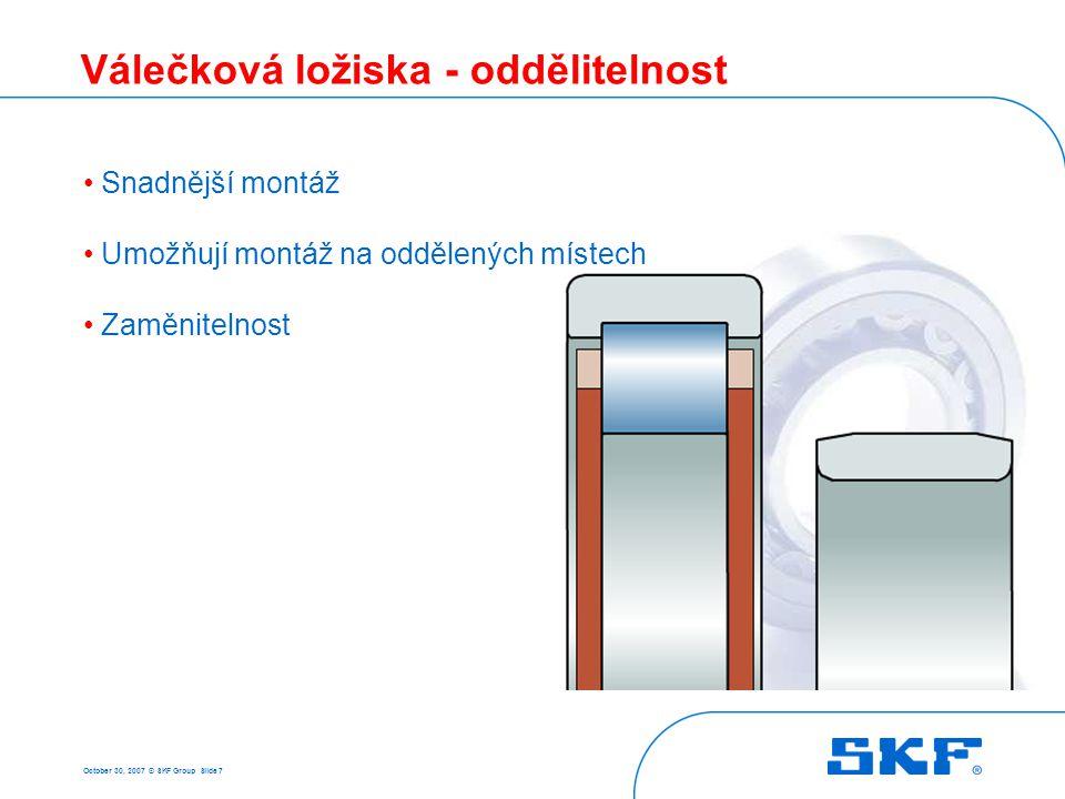 October 30, 2007 © SKF Group Slide 58 Ložiska CARB - vlastnosti Tolerance díra – třída P5 vnější průměr – P6 chod – třída P5 Minimální zatížení s klecís plným počtem valivých těles Axiální posunutí Nesouosost naklopení 0,5°