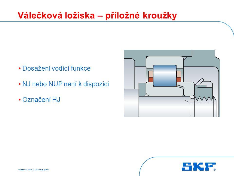 October 30, 2007 © SKF Group Slide 49 Soudečková ložiska - vlastnosti Tolerance díra – třída P5 vnější průměr – P6 chod – třída P5 Nesouosost Minimální zatížení