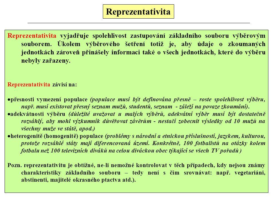 Reprezentativita Reprezentativita vyjadřuje spolehlivost zastupování základního souboru výběrovým souborem. Úkolem výběrového šetření totiž je, aby úd