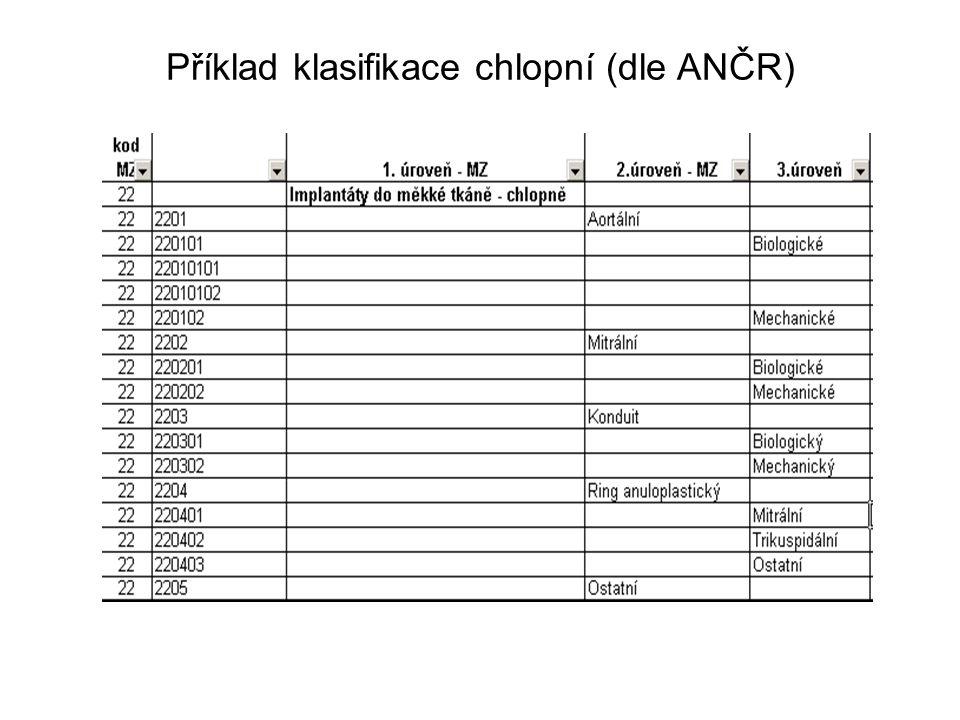 Příklad klasifikace chlopní (dle ANČR)
