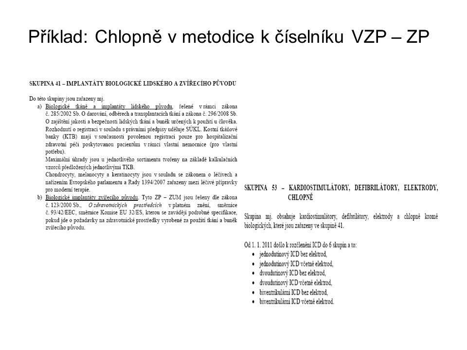Příklad: Chlopně v metodice k číselníku VZP – ZP