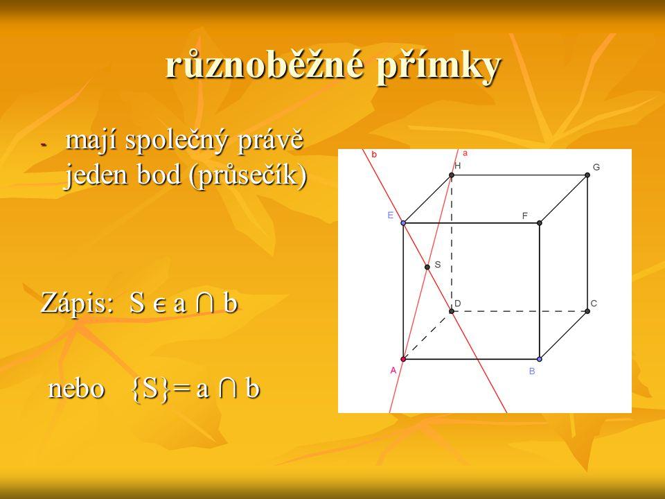 přímka různoběžná s rovinou má s rovinou společný právě jeden bod má s rovinou společný právě jeden bod ( průsečík P) ( průsečík P) Zápis :  a ∩ β Zápis :  a ∩ β