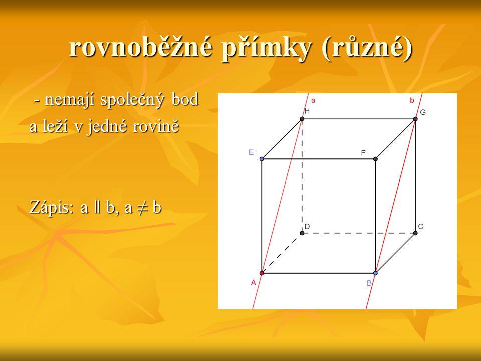 rovnoběžná (neleží v rovině) nemají společný žádný bod nemají společný žádný bod Zápis: a ǁ β, a ∩ β = Ø Zápis: a ǁ β, a ∩ β = Ø