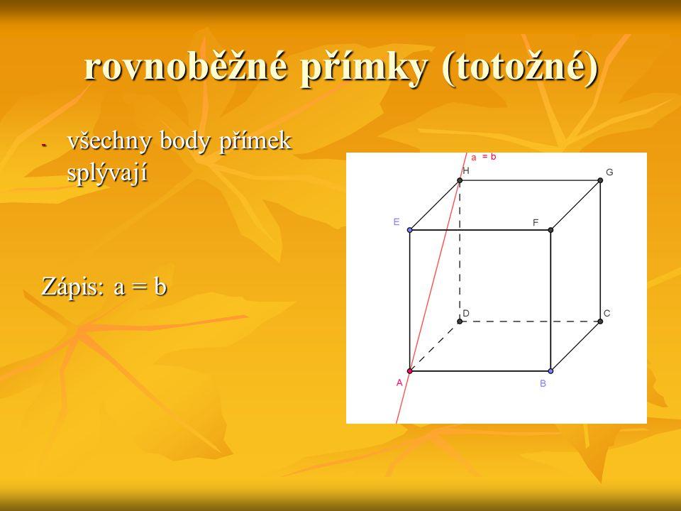 rovnoběžná (leží v rovině) mají všechny body přímky leží v rovině mají všechny body přímky leží v rovině Zápis: a  β Zápis: a  β