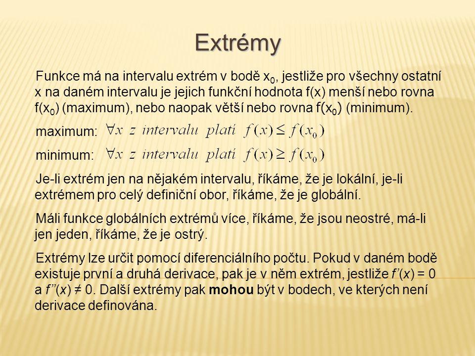 Extrémy Funkce má na intervalu extrém v bodě x 0, jestliže pro všechny ostatní x na daném intervalu je jejich funkční hodnota f(x) menší nebo rovna f(