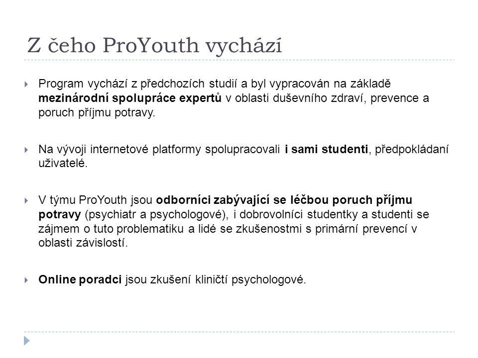 Z čeho ProYouth vychází  Program vychází z předchozích studií a byl vypracován na základě mezinárodní spolupráce expertů v oblasti duševního zdraví, prevence a poruch příjmu potravy.