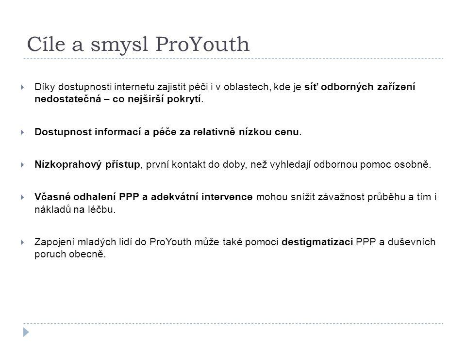 Cíle a smysl ProYouth  Díky dostupnosti internetu zajistit péči i v oblastech, kde je síť odborných zařízení nedostatečná – co nejširší pokrytí.