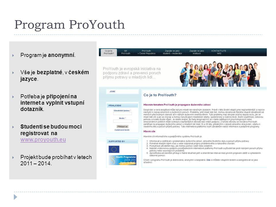 Program ProYouth  Program je anonymní.  Vše je bezplatné, v českém jazyce.