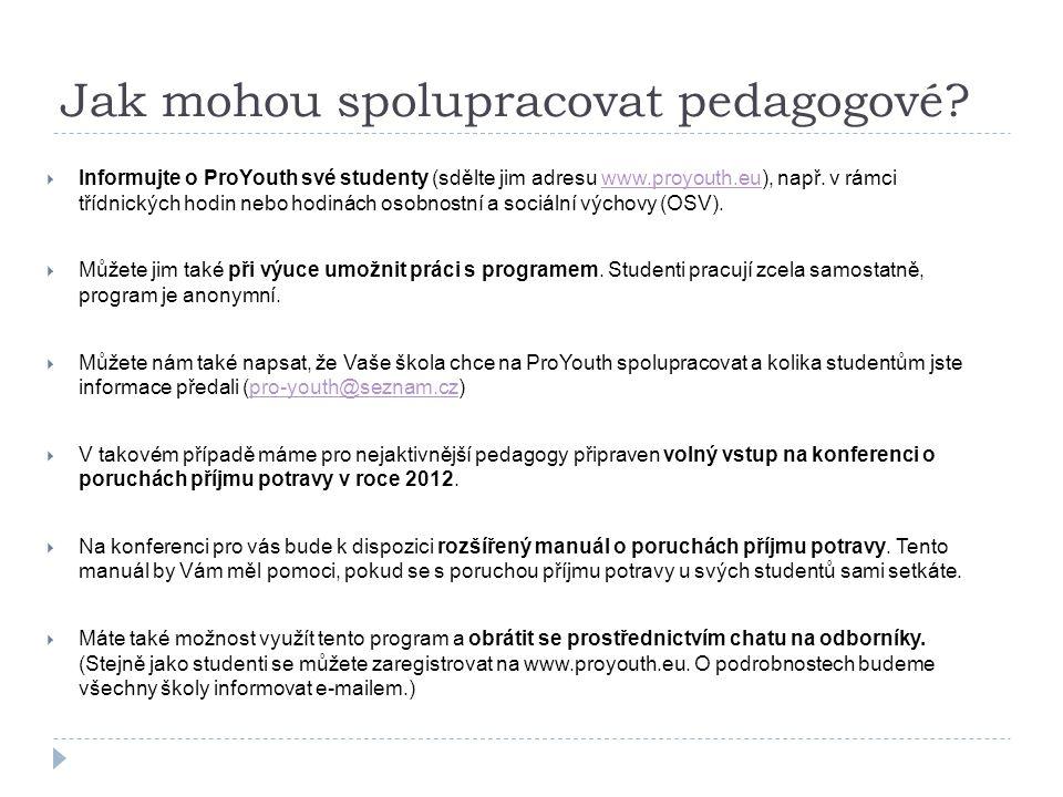 Šíření ProYouth  V ČR budou osloveny všechny ZŠ a SŠ prostřednictvím odboru prevence MŠMT, krajských a poradenských metodiků prevence.